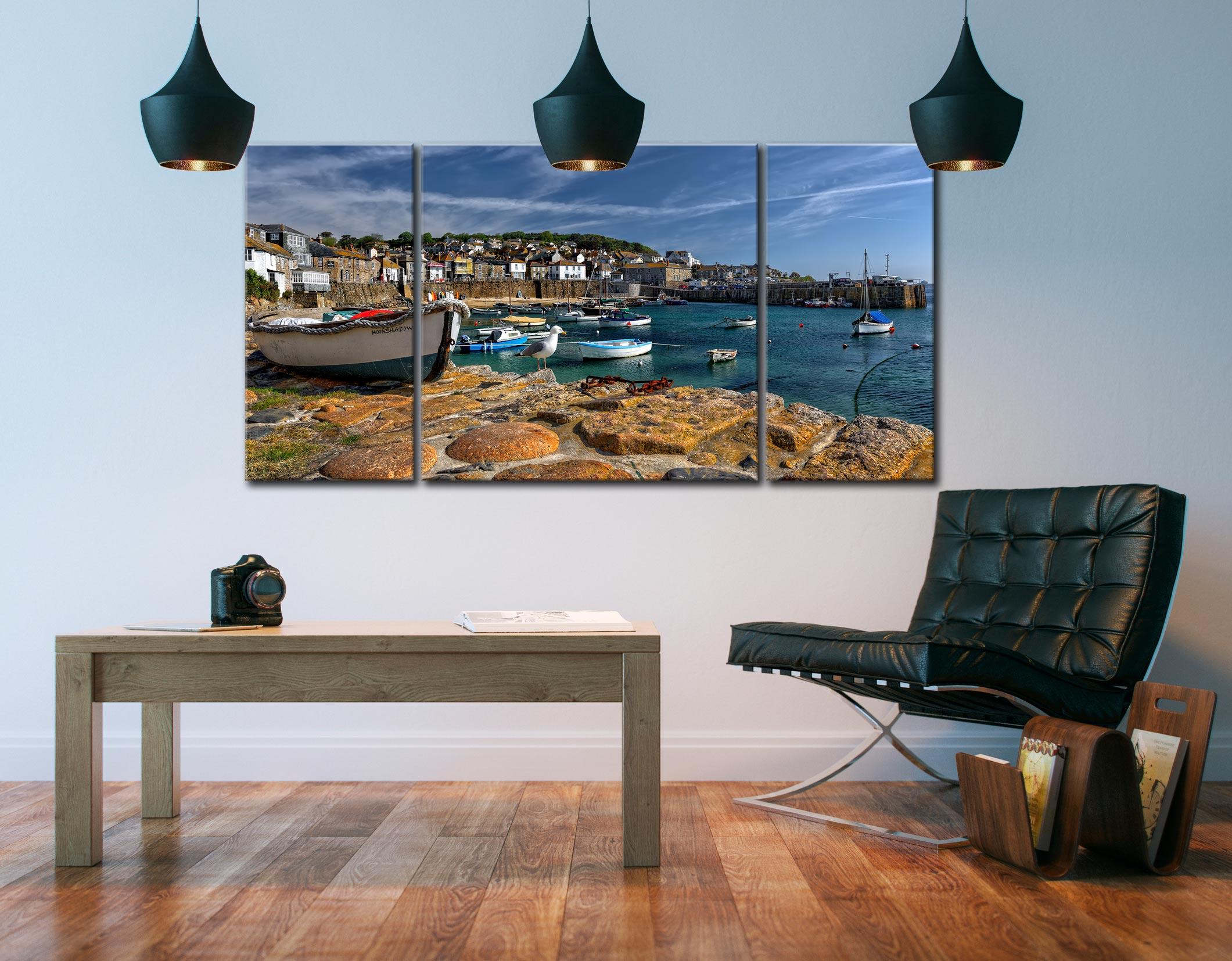 Mousehole Harbour - 3 Panel Wide Centre Canvas on Wall