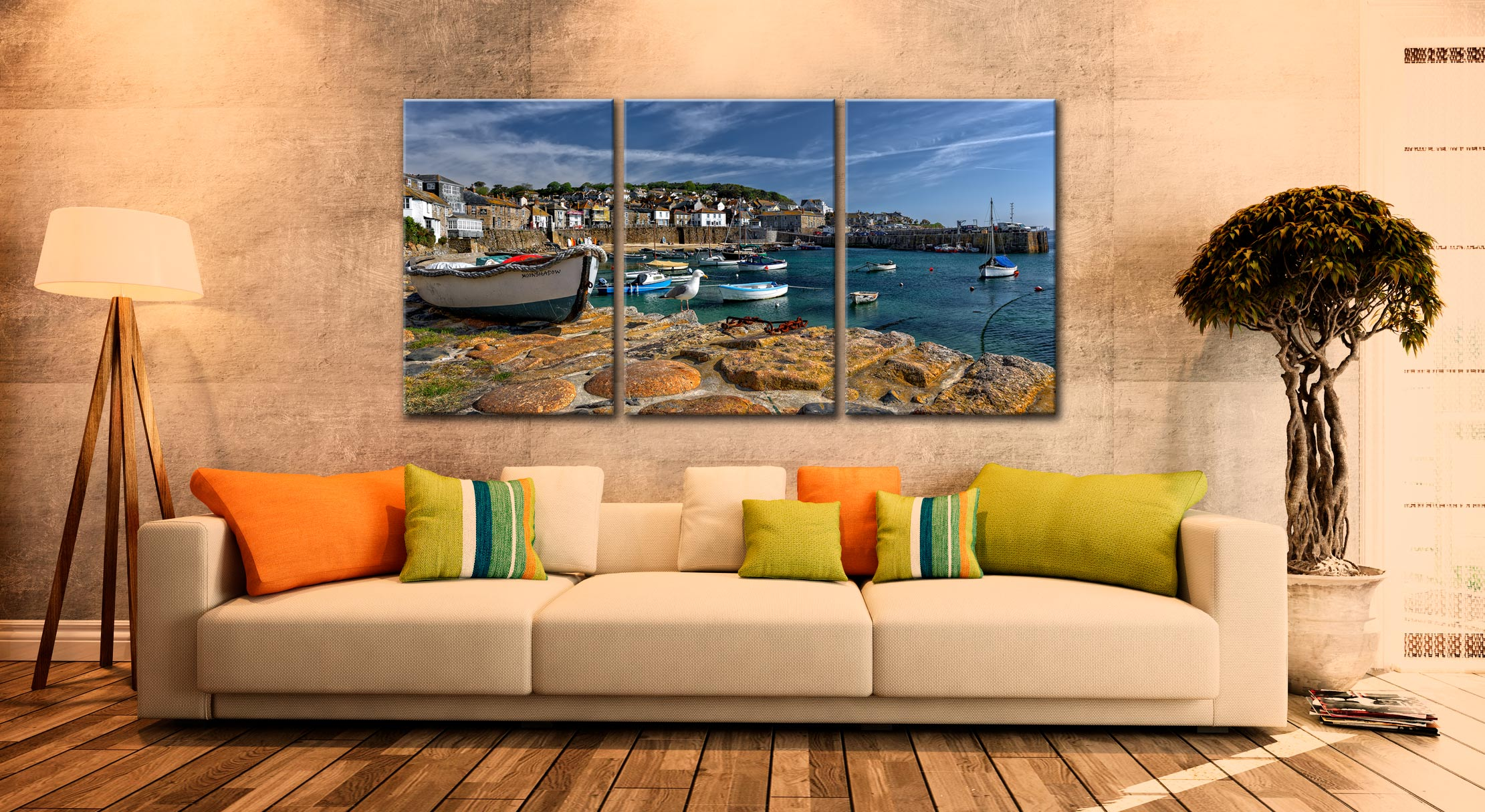 Mousehole Harbour - 3 Panel Canvas on Wall