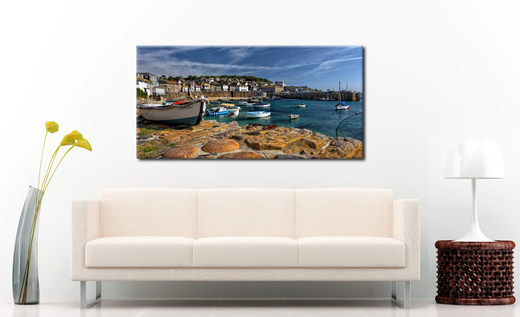 Mousehole Harbour - Canvas Print on Wall