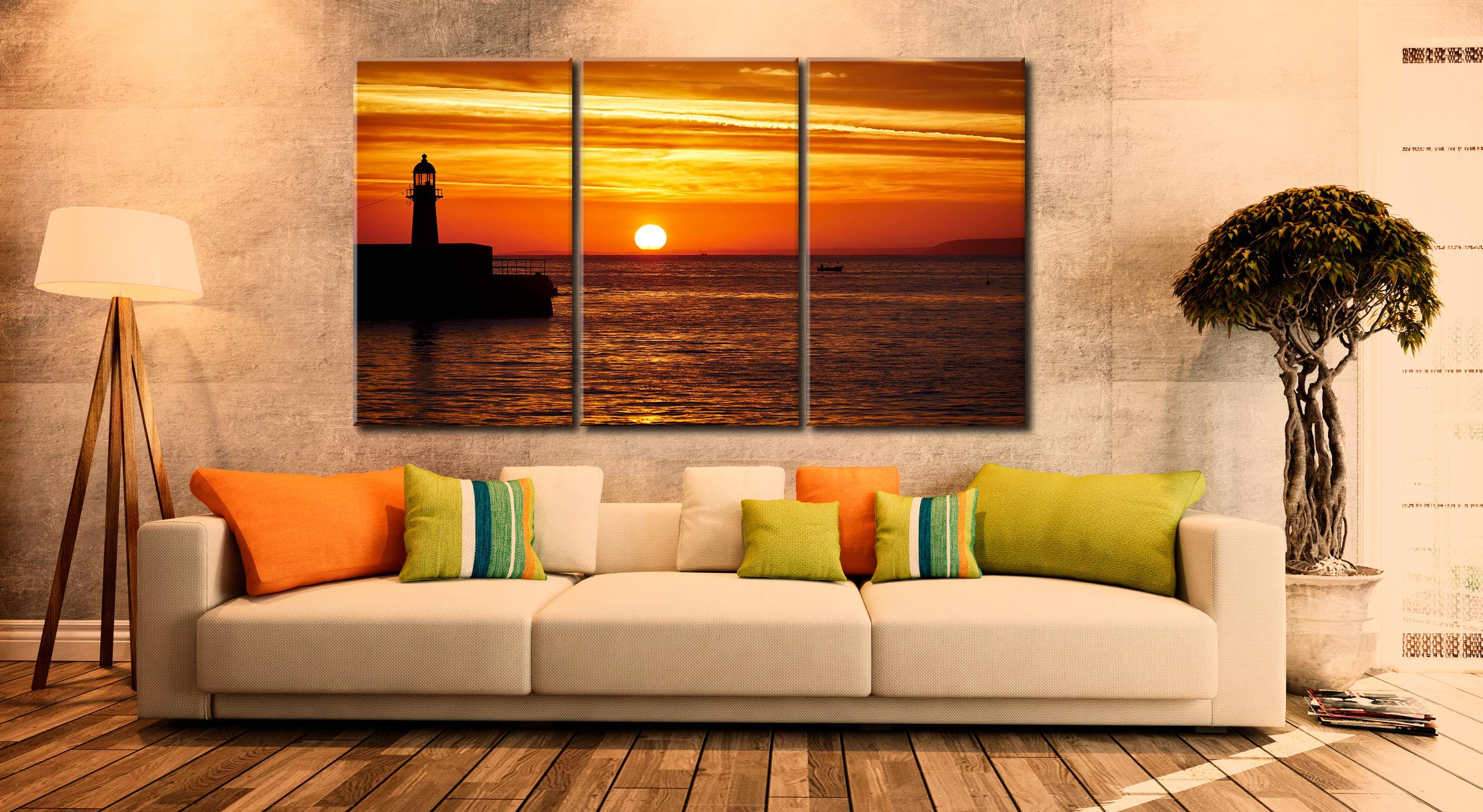 St Ives Harbour Sunrise - 3 Panel Canvas on Wall