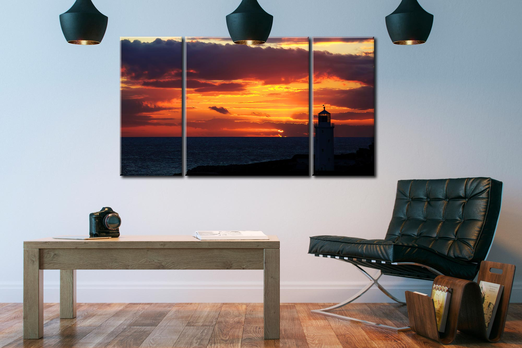 Golden Skies Over Godrevy - 3 Panel Canvas on Wall