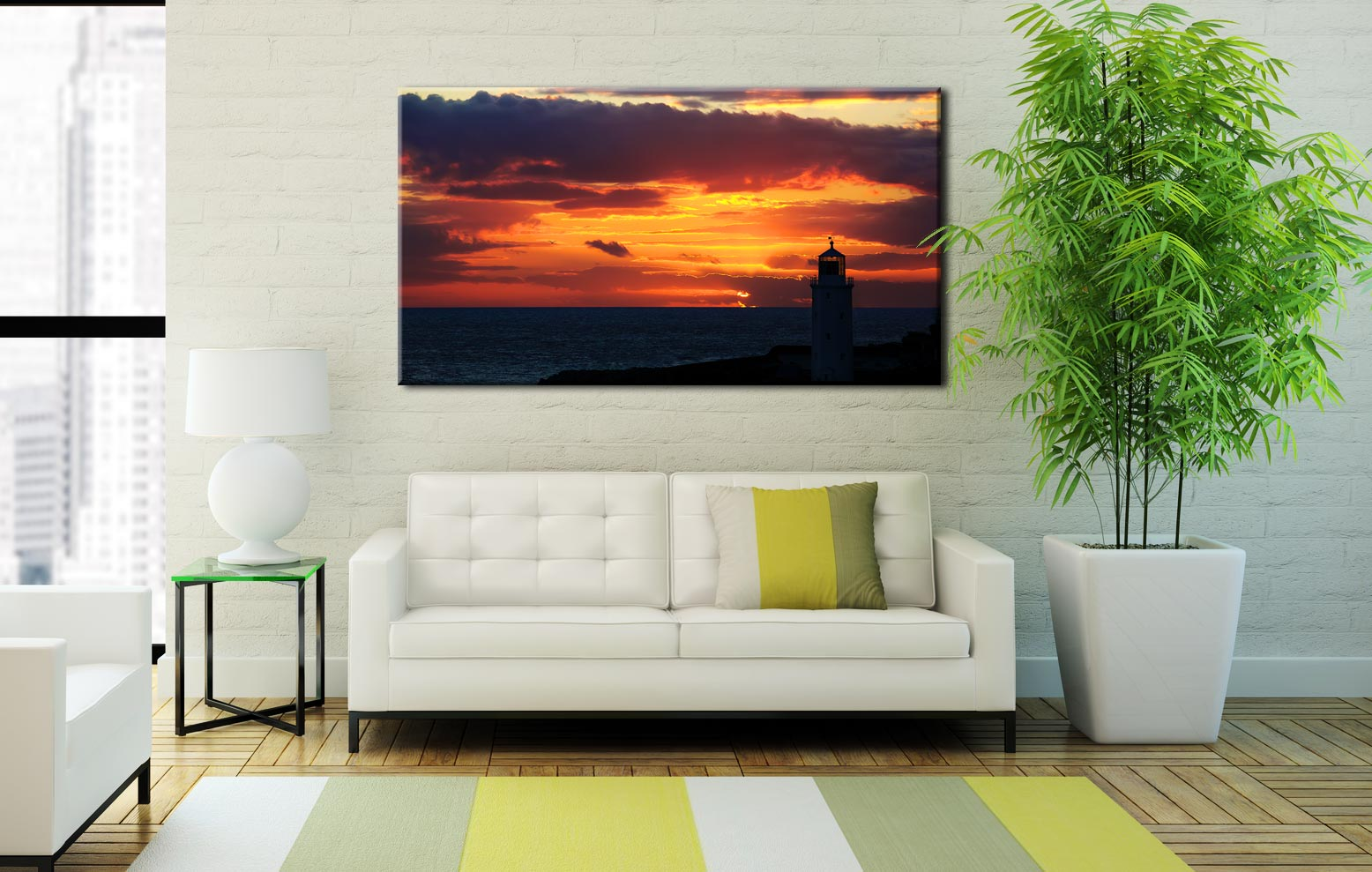 Golden Skies Over Godrevy - Cornwall Canvas on Wall