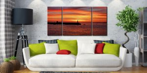 Golden Dawn St Ives - 3 Panel Wide Centre Canvas on Wall