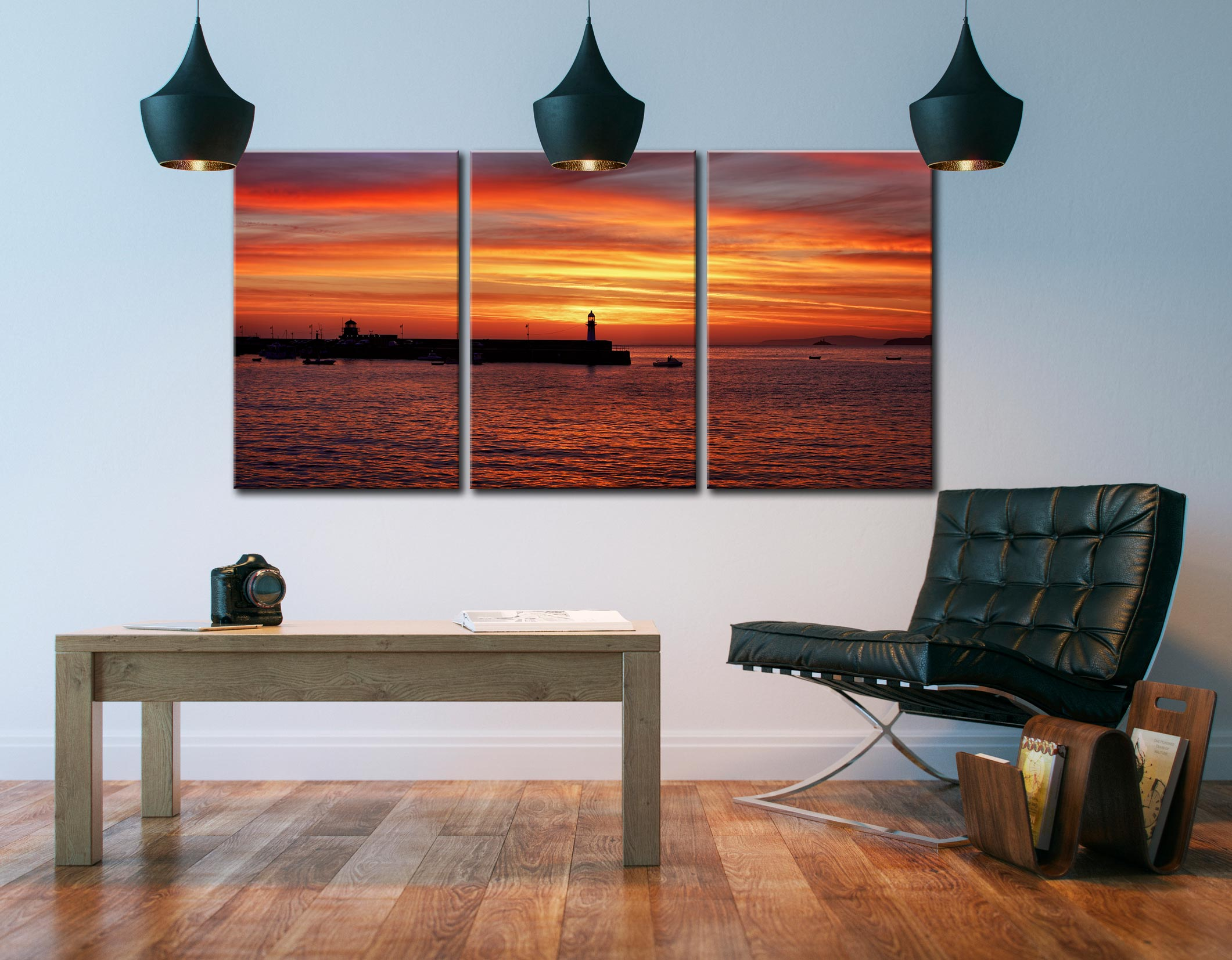 Golden Dawn St Ives - 3 Panel Canvas on Wall