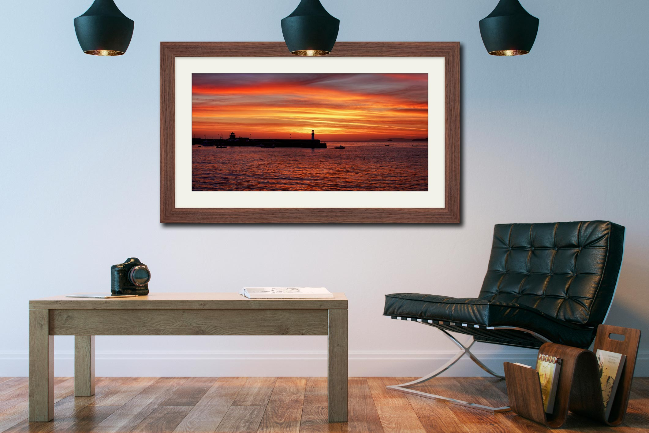 Golden Dawn St Ives - Framed Print with Mount on Wall