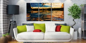 Dawn Harbour Colours - 3 Panel Canvas on Wall