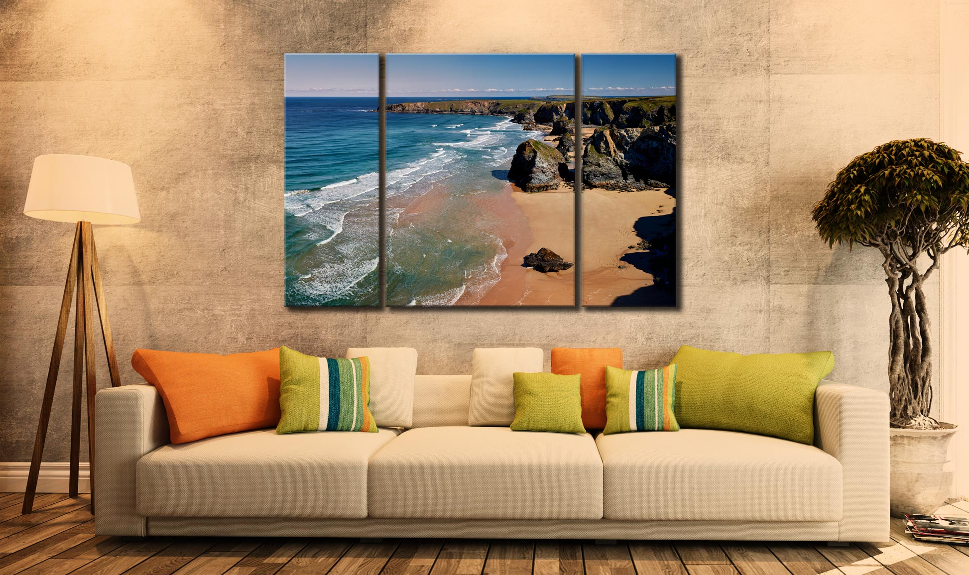 Green Ocean at Bedruthan Steps  - A 3 panel wide centre canvas on Wall