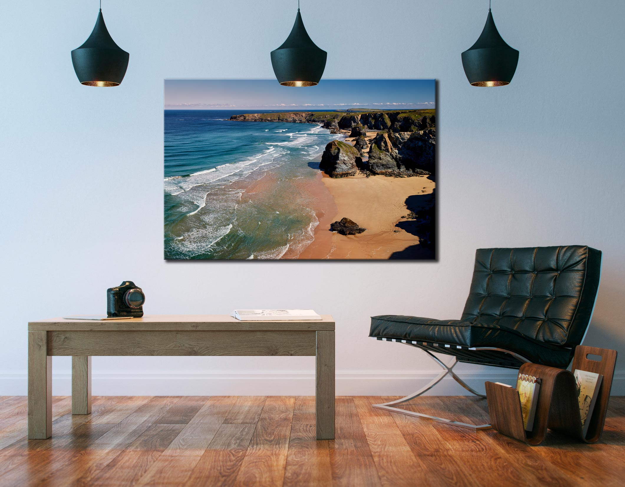 Green Ocean at Bedruthan Steps - Cornwall Canvas on Wall