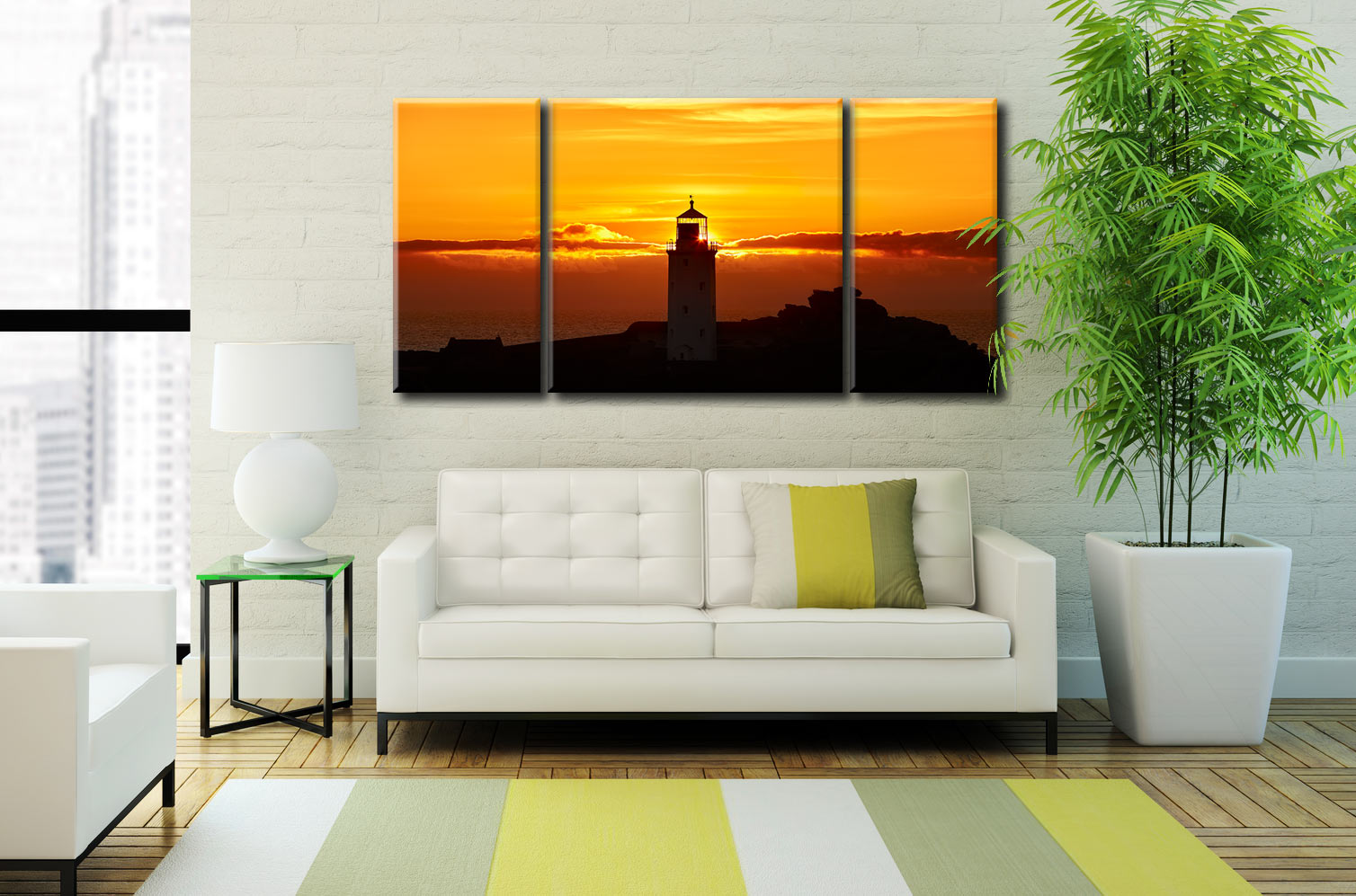 Sunbeams of Godrevy Lighthouse - 3 Panel Wide Centre Canvas on Wall
