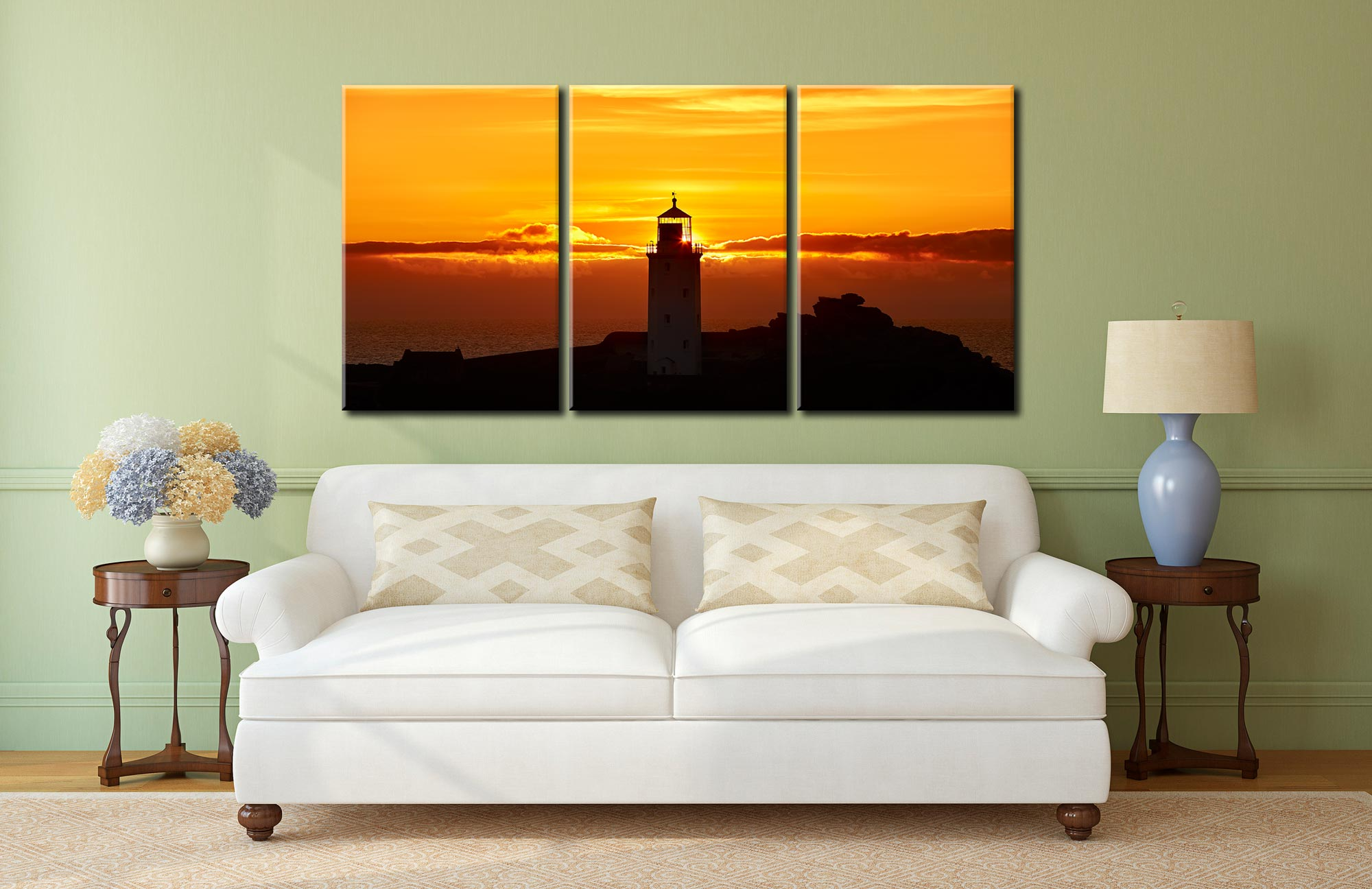 Sunbeams of Godrevy Lighthouse - 3 Panel Canvas on Wall