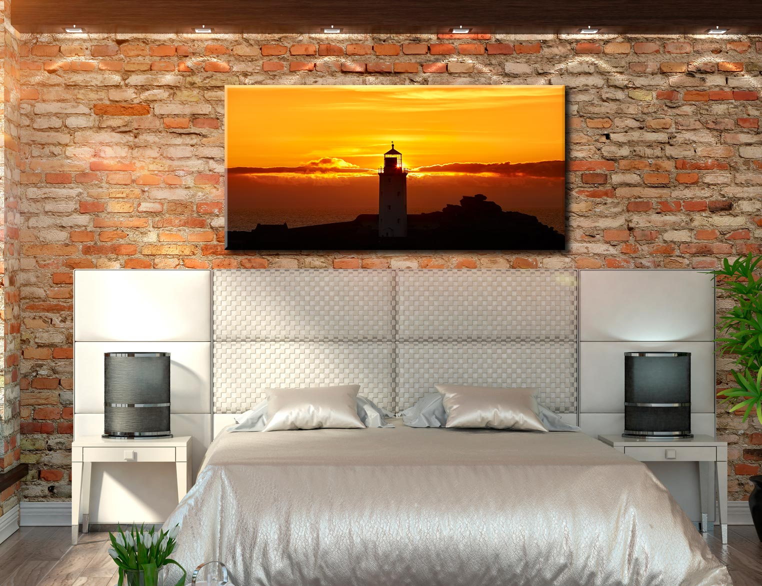 Sunbeams of Godrevy Lighthouse - Canvas Print on Wall