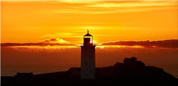 Sunbeams of Godrevy Lighthouse - Canvas Print