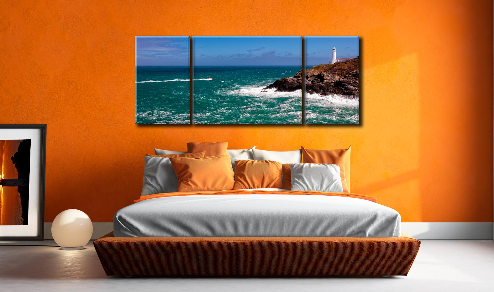 Trevose Head Lighthouse and Lifeboat - 3 Panel Wide Mid Canvas on Wall