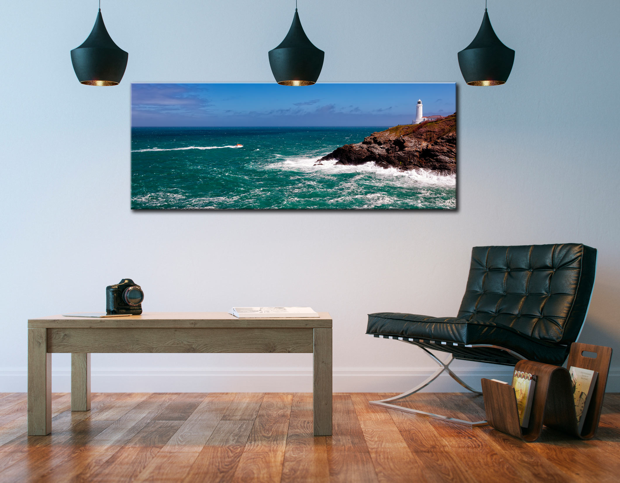 Trevose Head Lighthouse and Lifeboat - Canvas Print on Wall