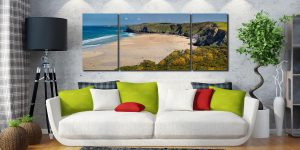 Spring at Watergate Bay - 3 Panel Wide Mid Canvas on Wall