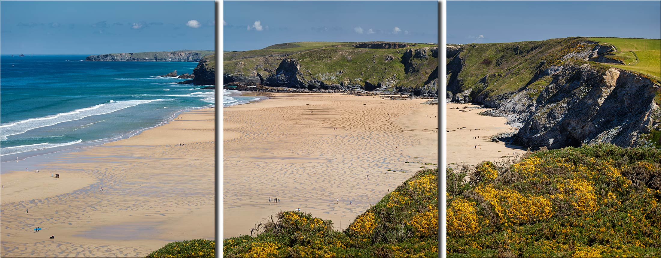 Spring at Watergate Bay - 3 Panel Canvas
