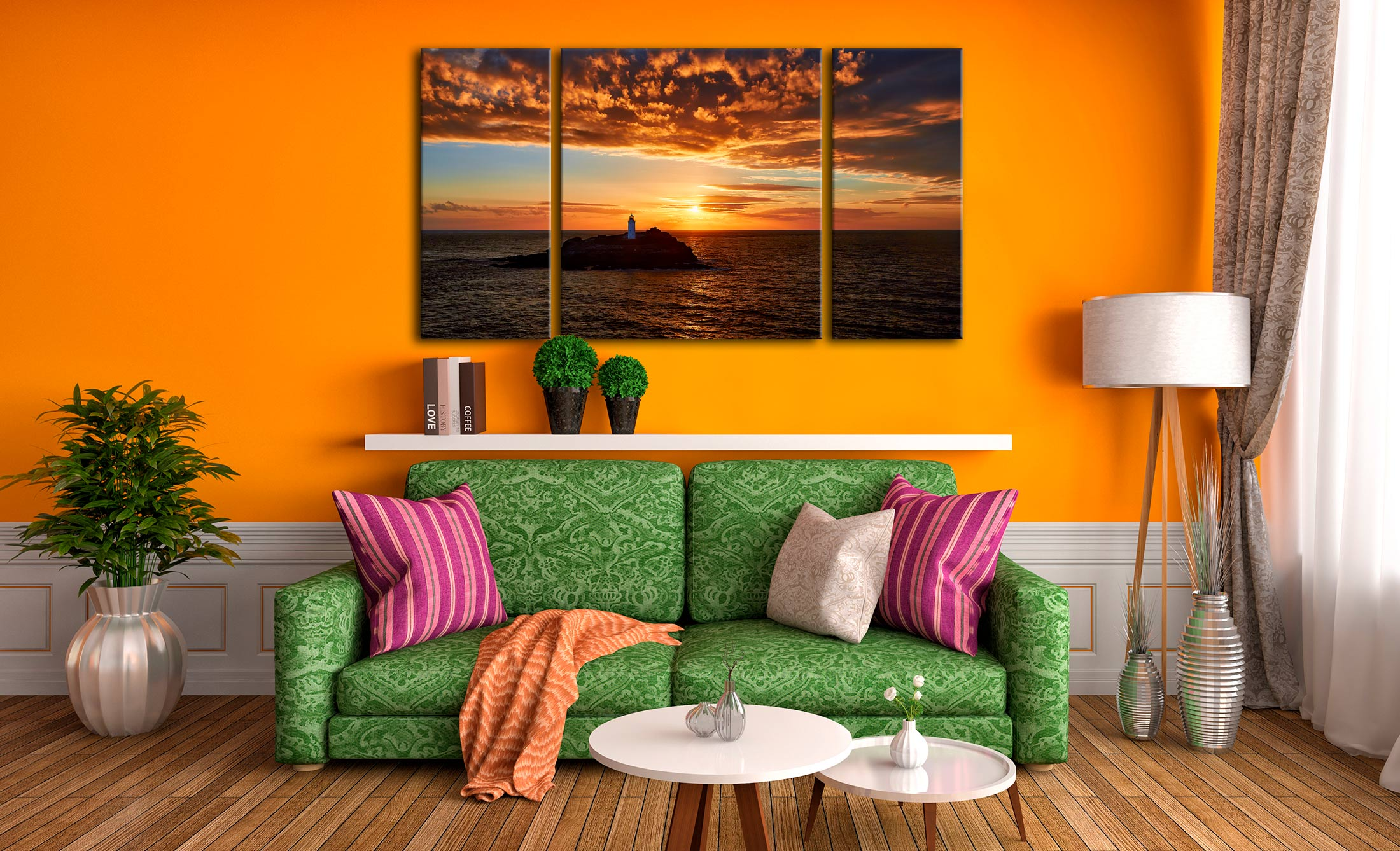 Sunset Over Godrevy Lighthouse - 3 Panel Canvas on Wall
