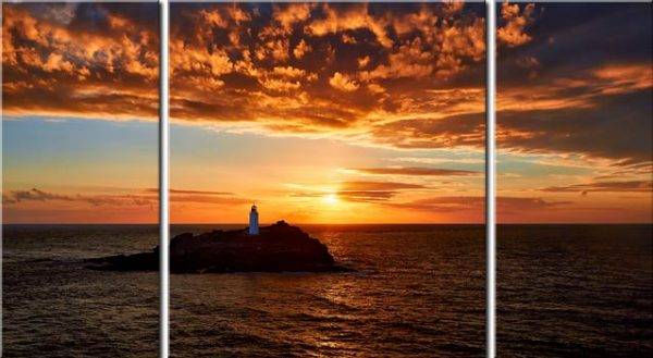 Sunset Over Godrevy Lighthouse - Cornwall Canvas