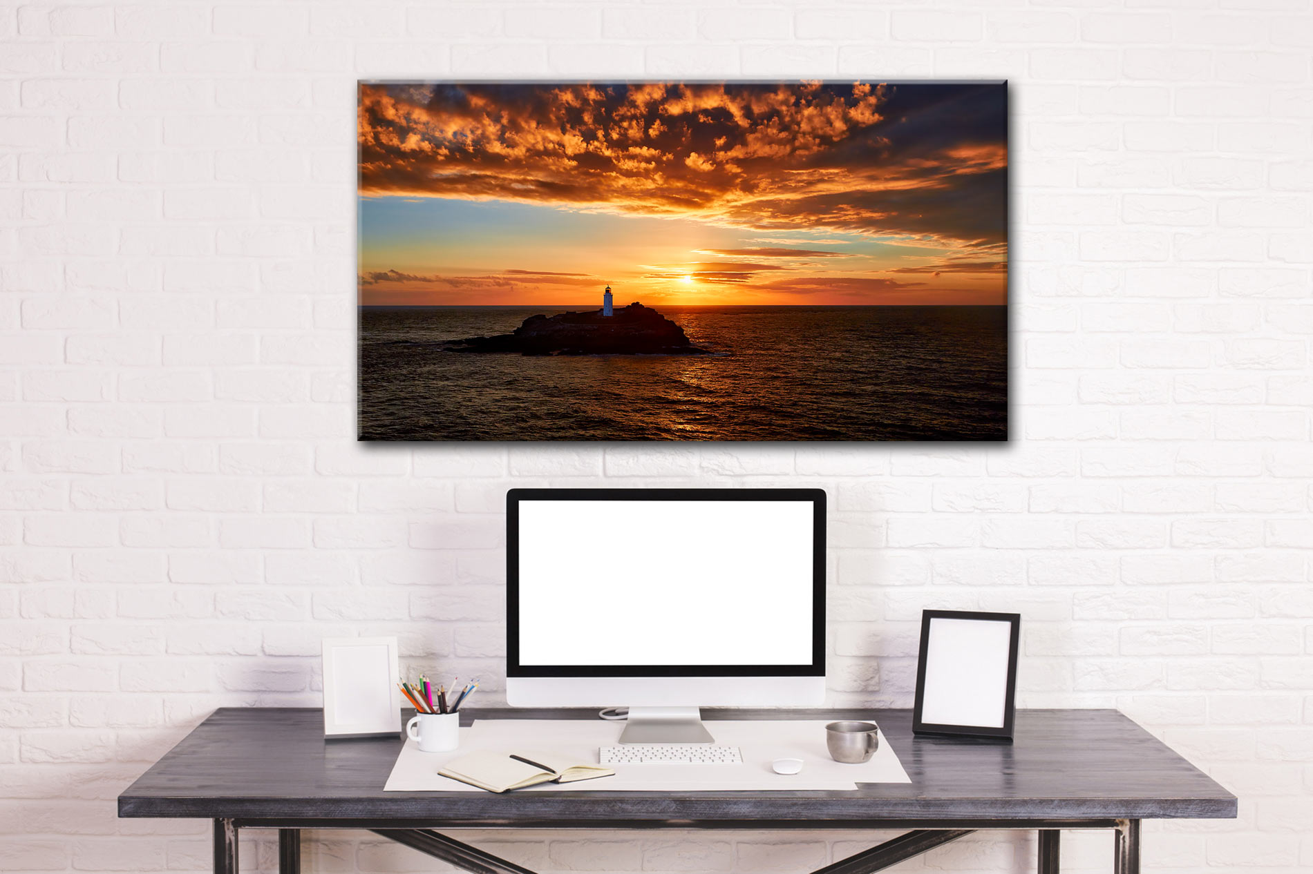 Sunset Over Godrevy Lighthouse - Cornwall Canvas on Wall