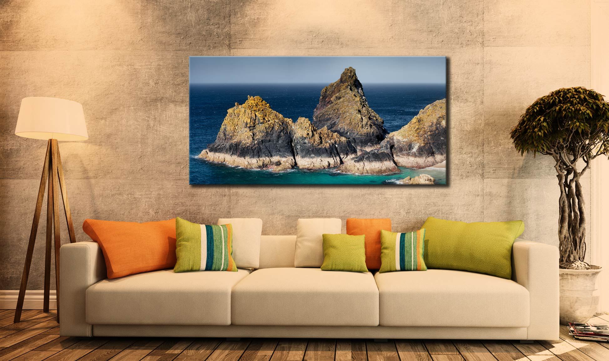 The Bishop Rock at Kynance - Canvas Print on Wall
