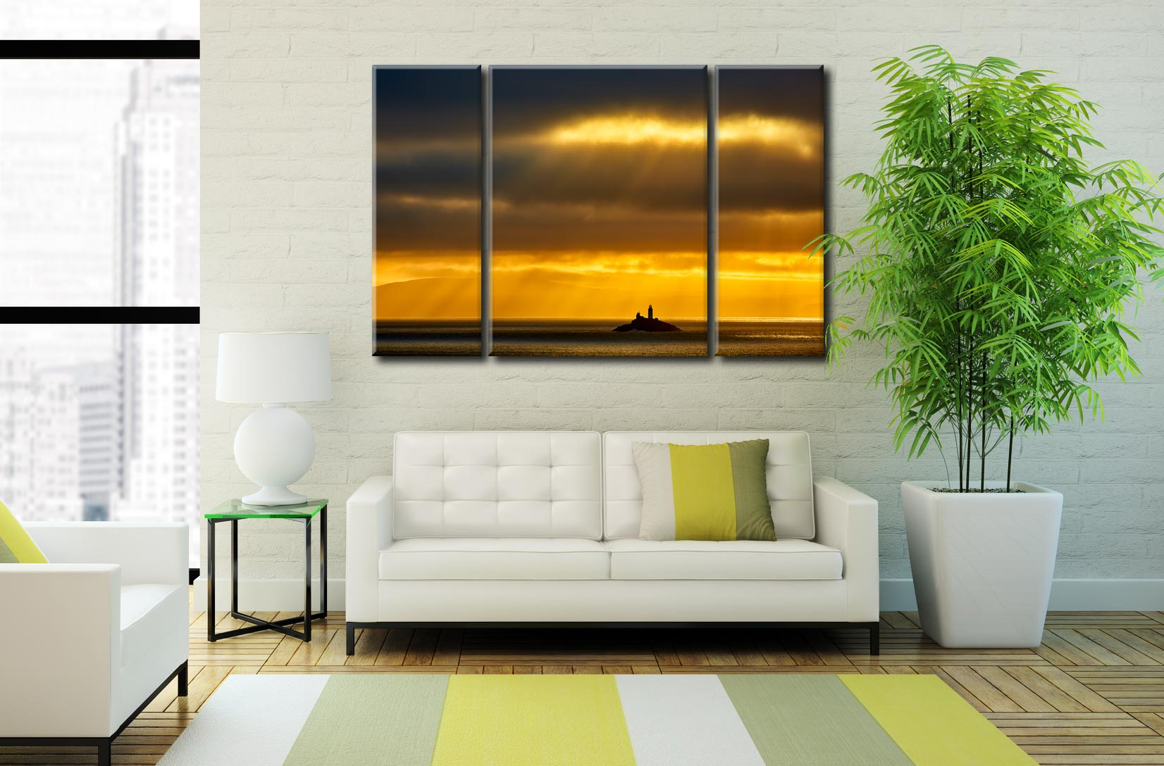 Morning Rays Over Godrevy Lighthouse  - A 3 panel wide centre canvas on Wall