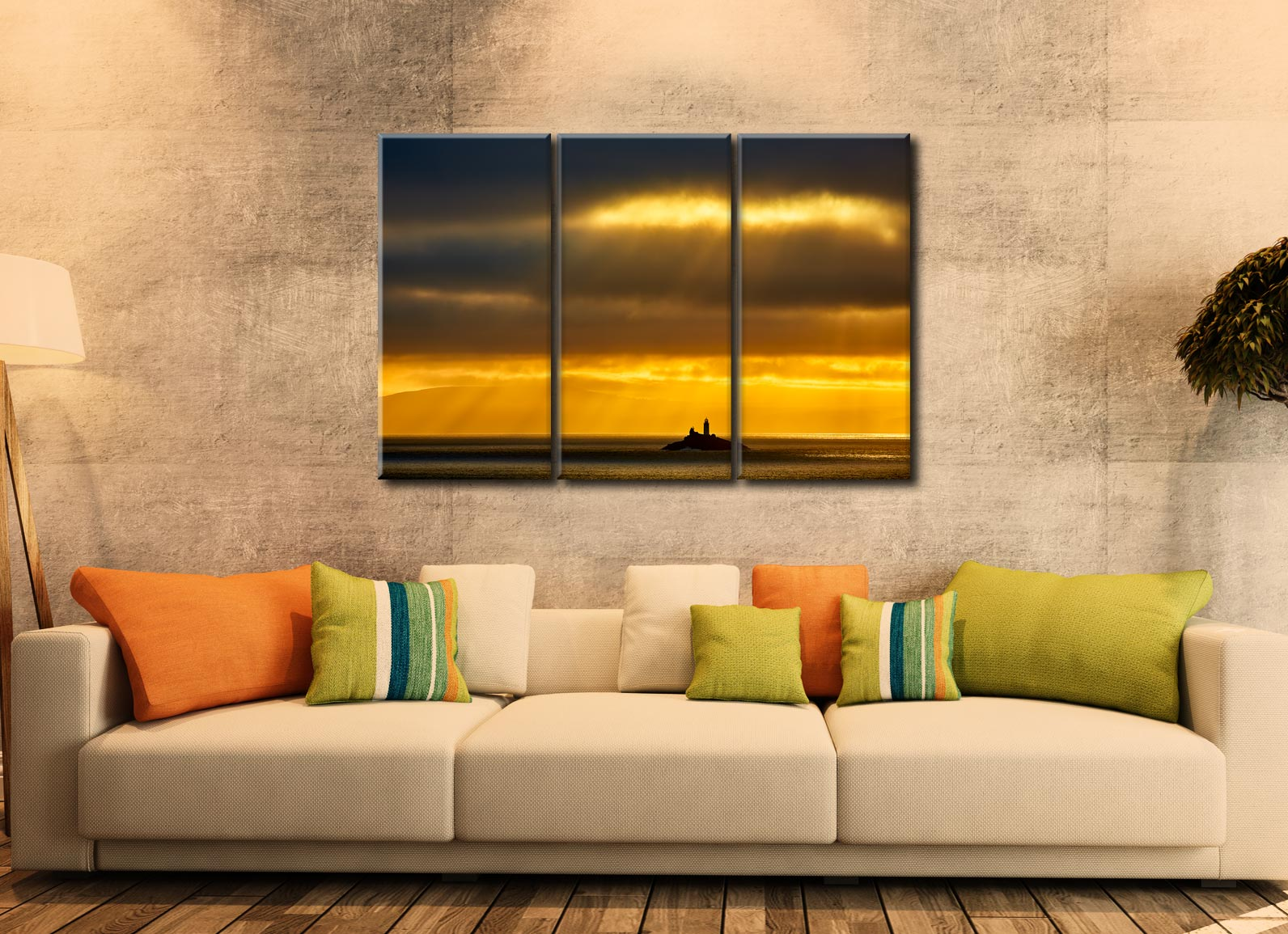 Morning Rays Over Godrevy Lighthouse - 3 Panel Canvas on Wall