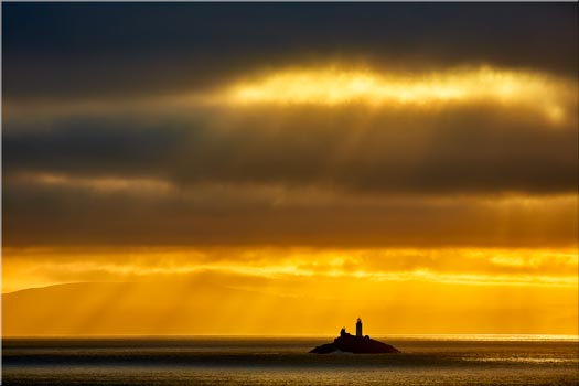 Morning Rays Over Godrevy Lighthouse - Cornwall Canvas