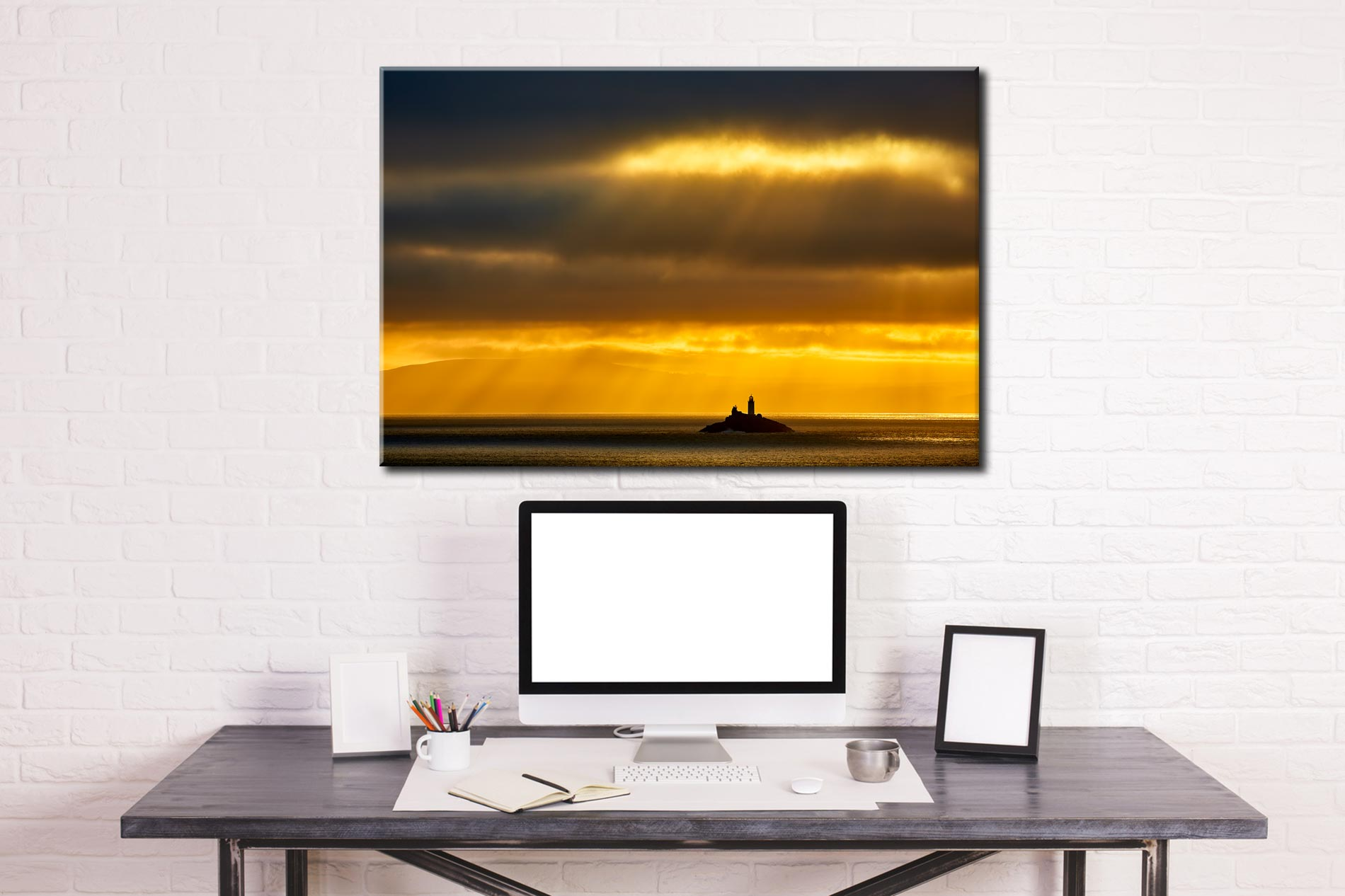 Morning Rays Over Godrevy Lighthouse - Cornwall Canvas on Wall
