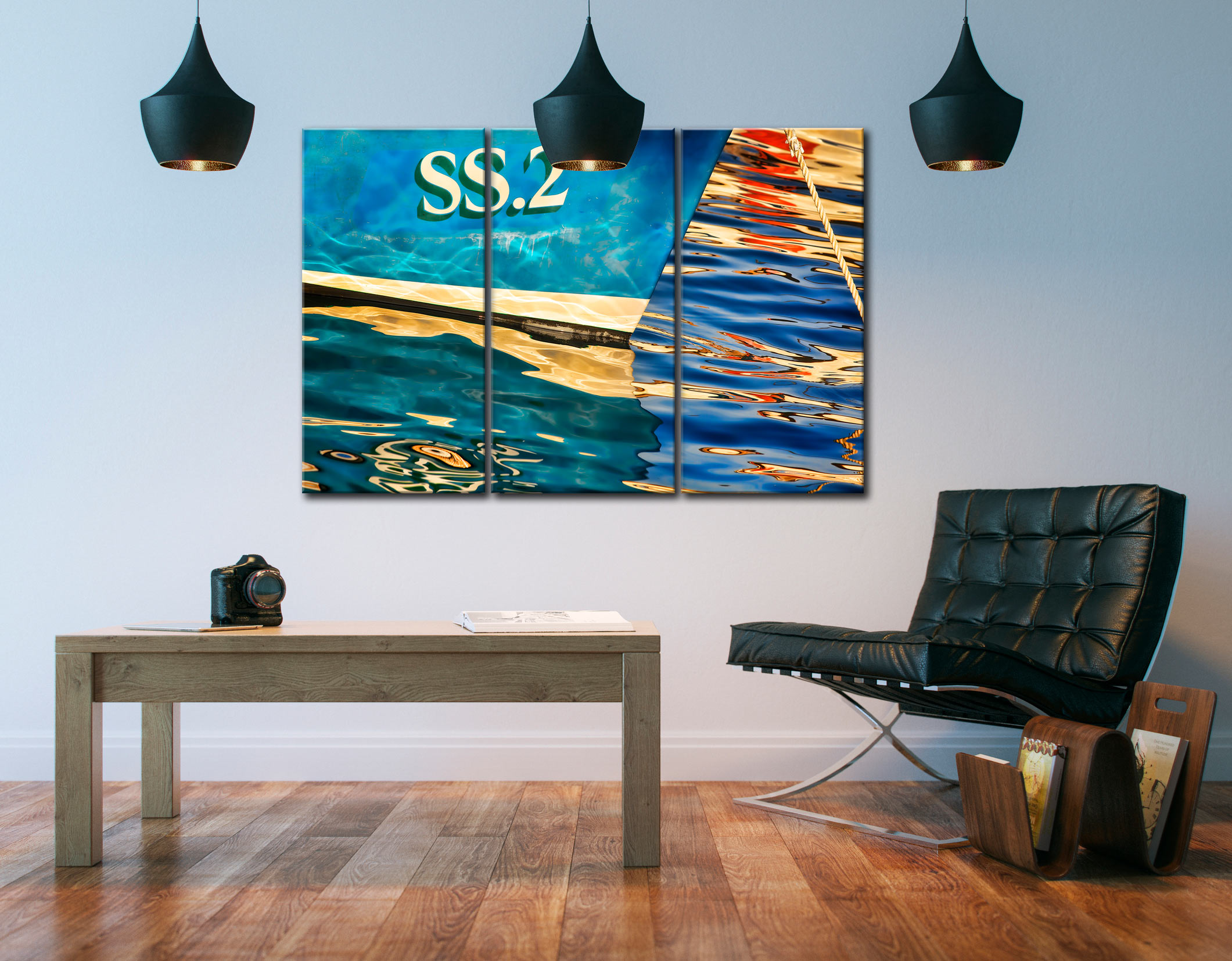 Water Colours St Ives Harbour - 3 Panel Canvas on Wall