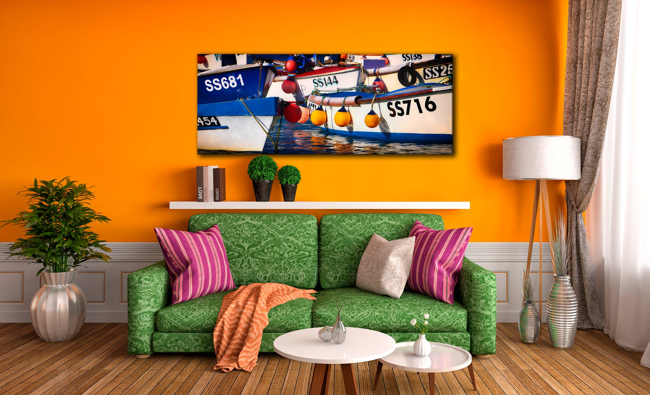 Crowded Harbour St Ives - Canvas Print on Wall