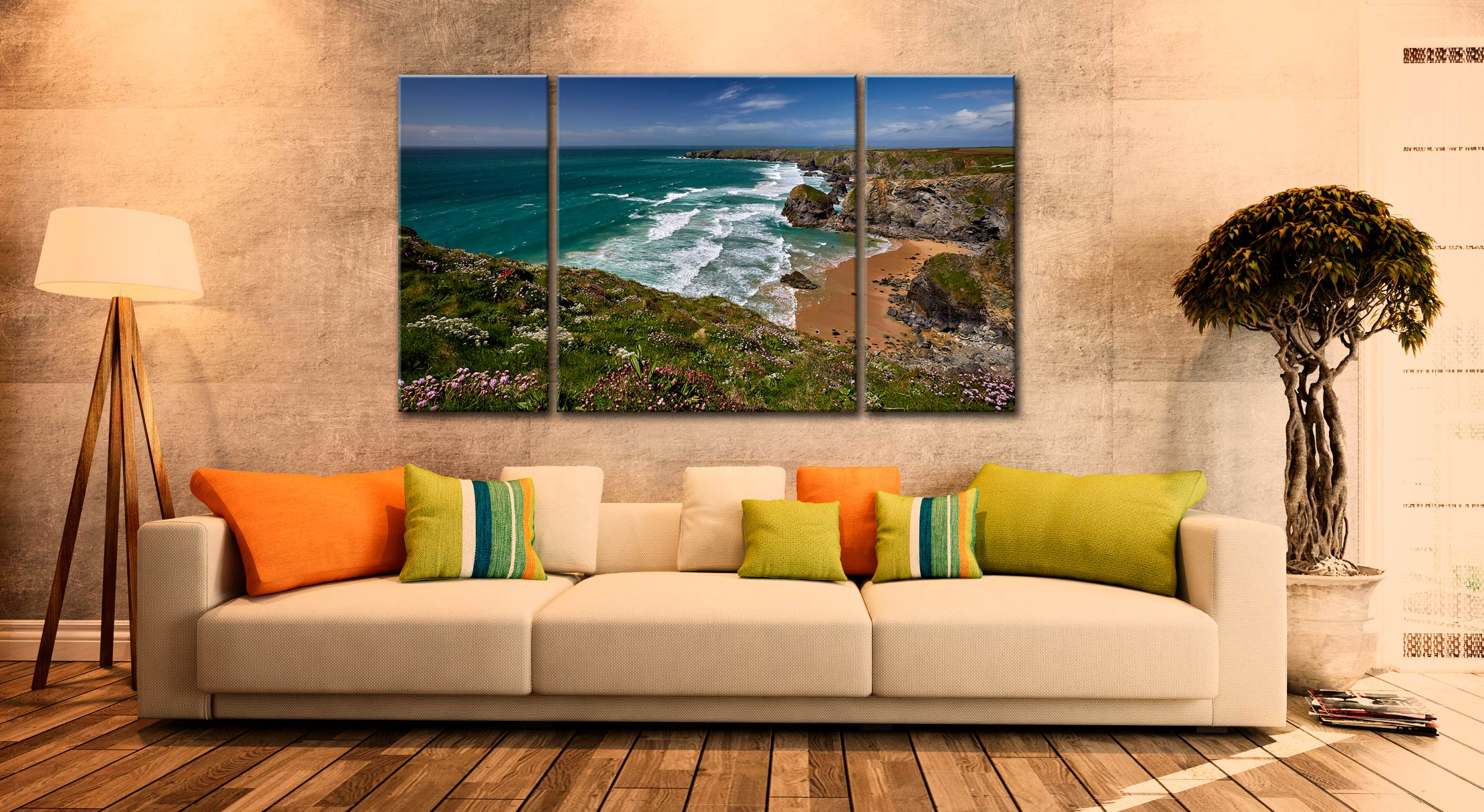 Wildflowers at Bedruthan Steps - 3 Panel Canvas on Wall