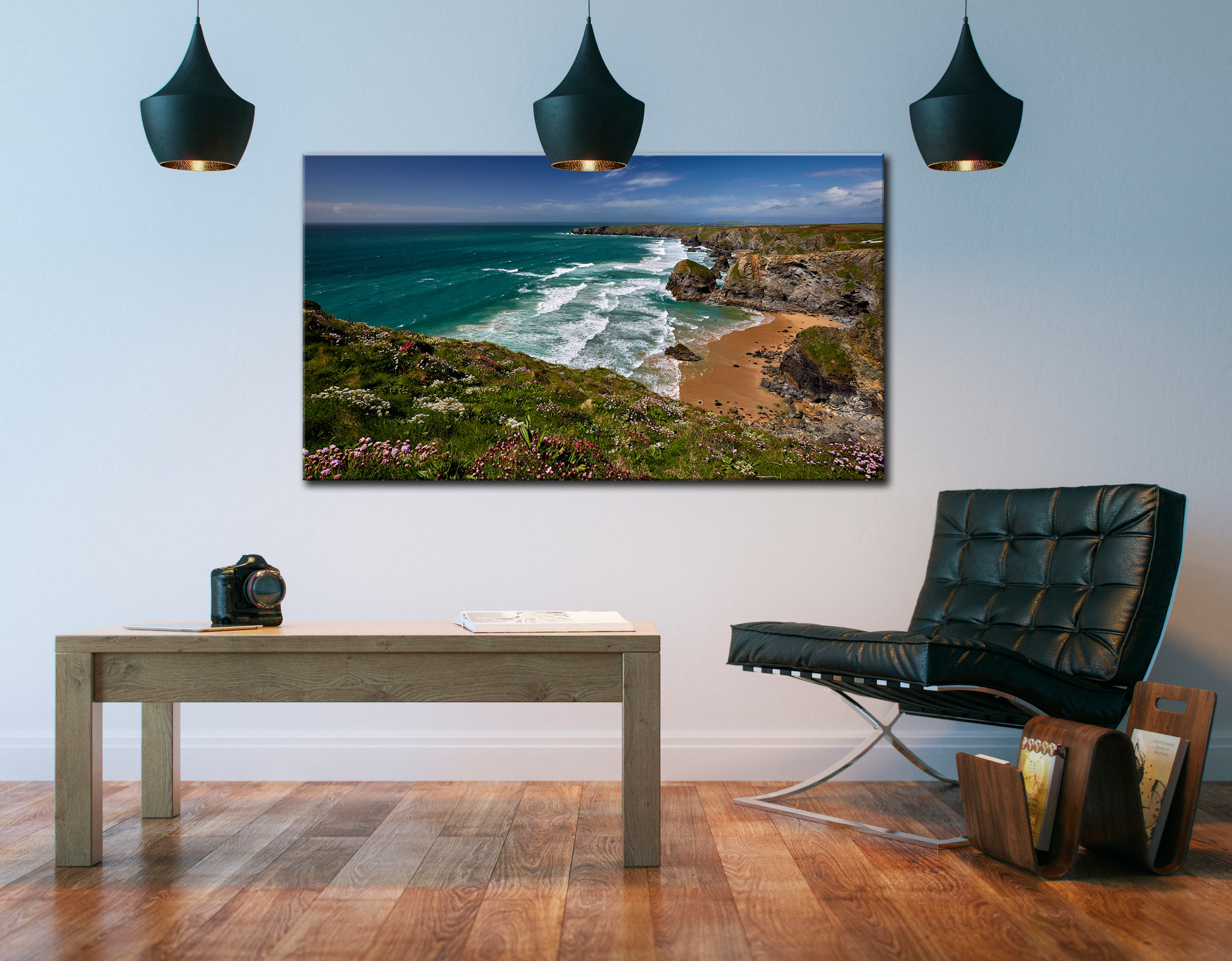 Wildflowers at Bedruthan Steps - Cornwall Canvas on Wall