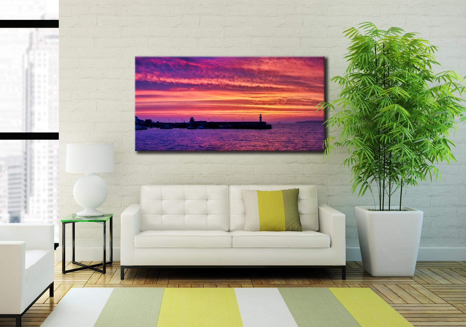 St Ives Purple Skies of Sunrise - Canvas Print on Wall