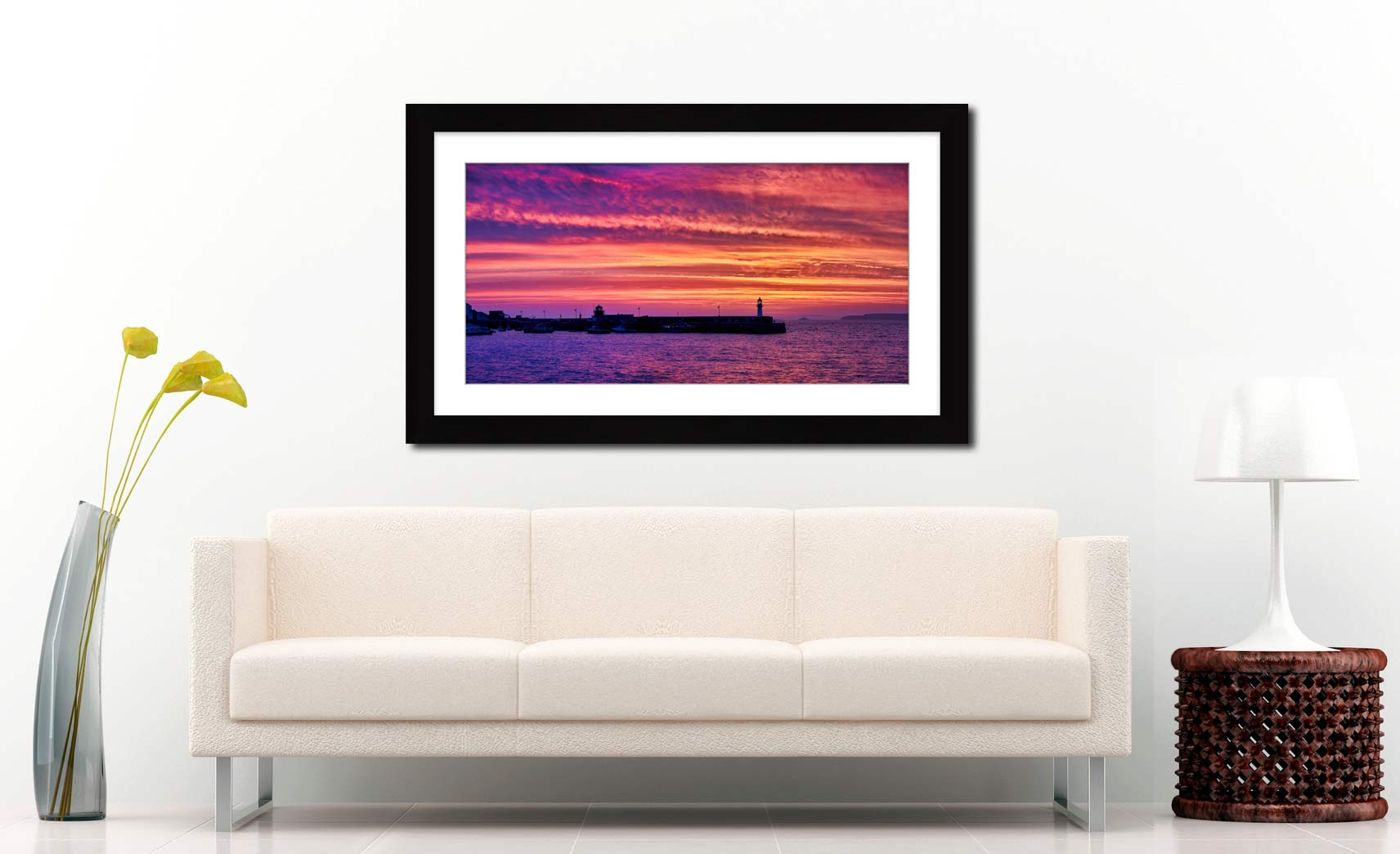 St Ives Purple Skies of Sunrise - Framed Print with Mount on Wall