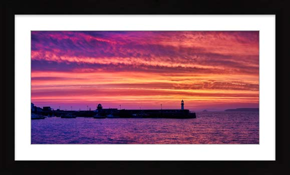 St Ives Purple Skies of Sunrise - Framed Print with Mount