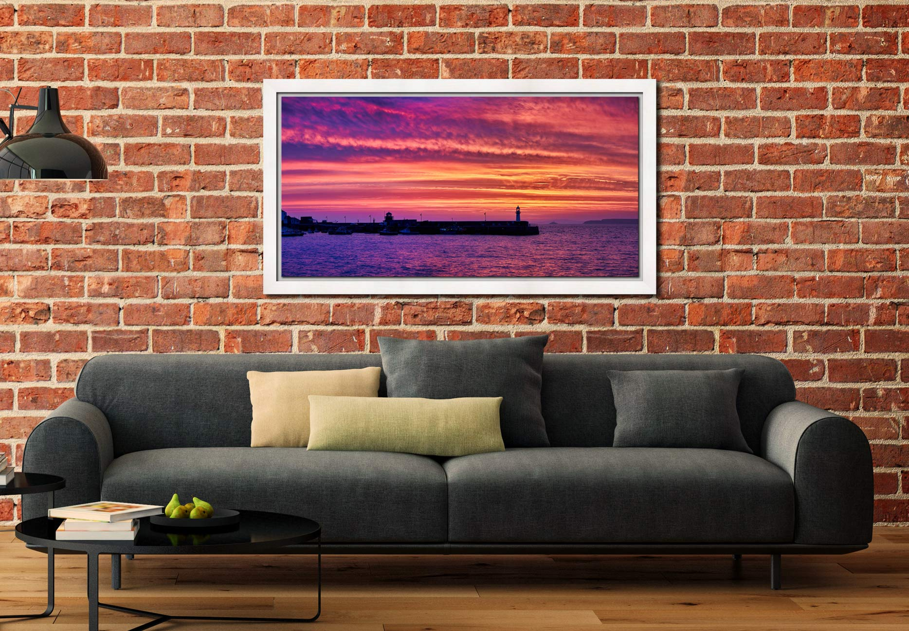 St Ives Purple Skies of Sunrise - White Maple floater frame with acrylic glazing on Wall