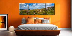 Wildflowers at Godrevy - 3 Panel Wide Mid Canvas on Wall
