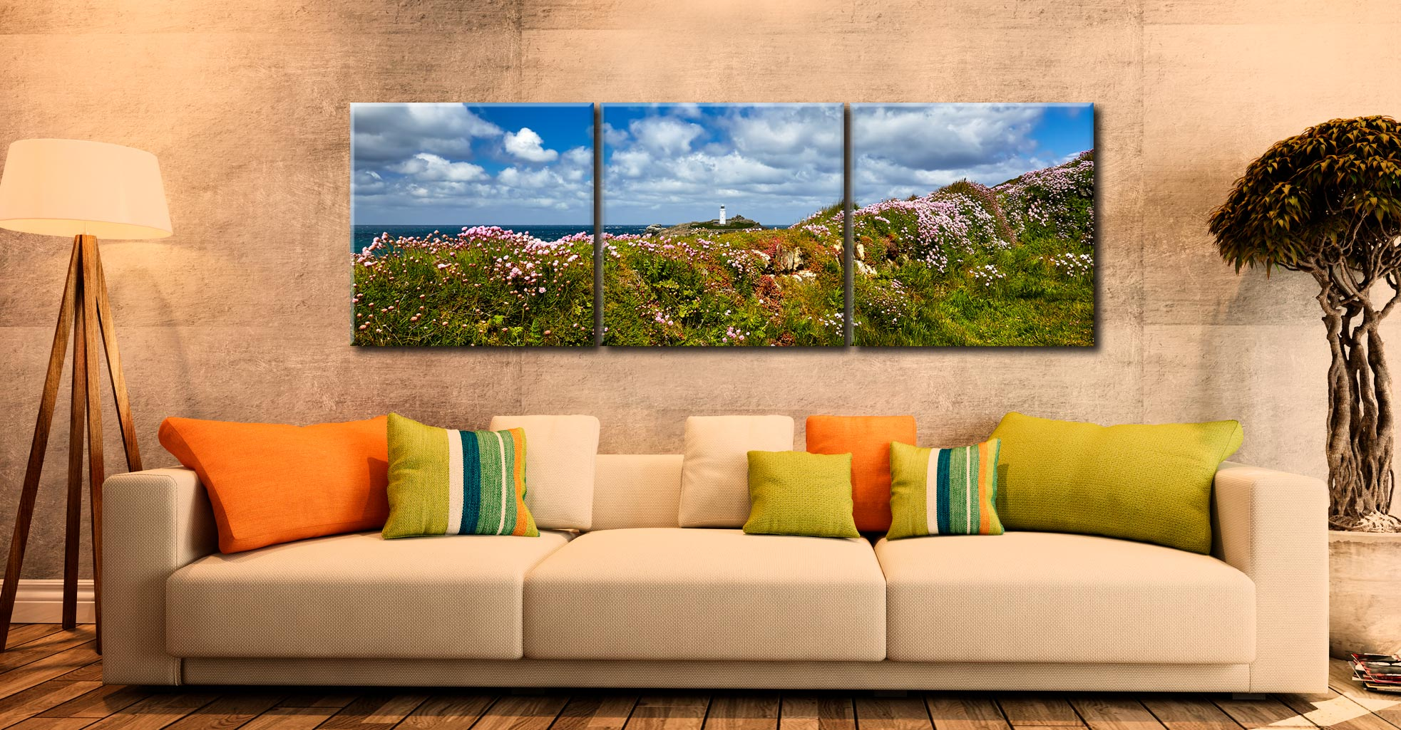 Wildflowers at Godrevy - 3 Panel Canvas on Wall