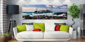 Godrevy Lighthouse Panorama - 3 Panel Canvas on Wall
