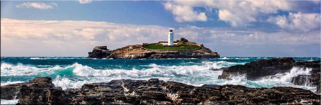 Godrevy Lighthouse Panorama - Canvas Print