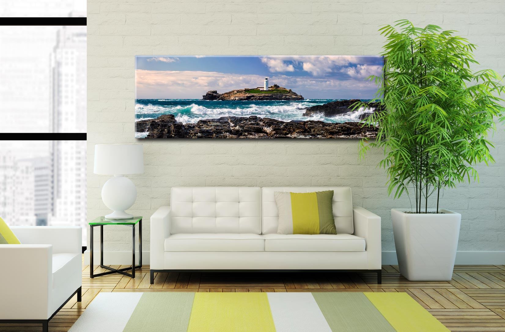 Godrevy Point Panorama Canvas on Wall