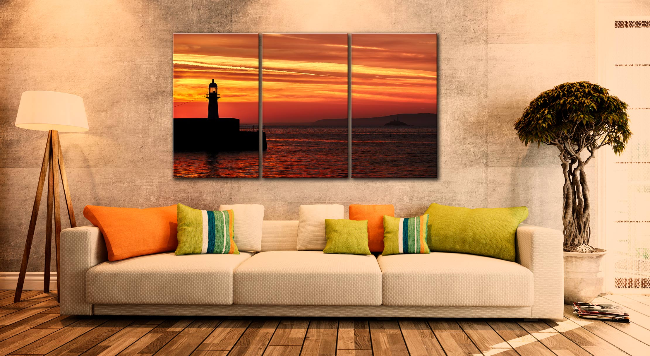St Ives Lighthouses - 3 Panel Canvas on Wall