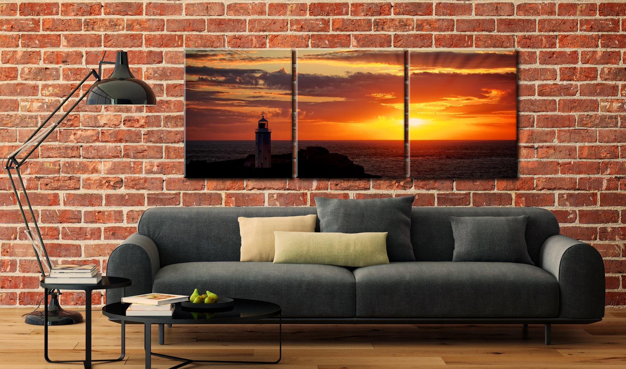 Sun Rays Over Godrevy Lighthouse - 3 Panel Canvas on Wall
