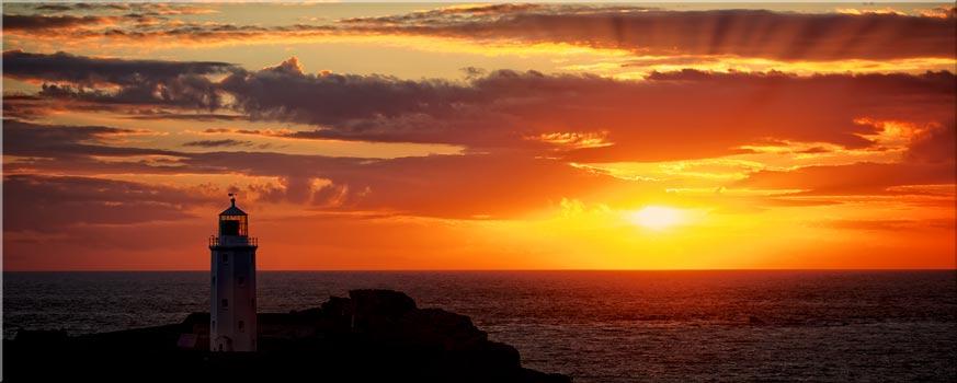 Sun Rays Over Godrevy Lighthouse - Canvas Print