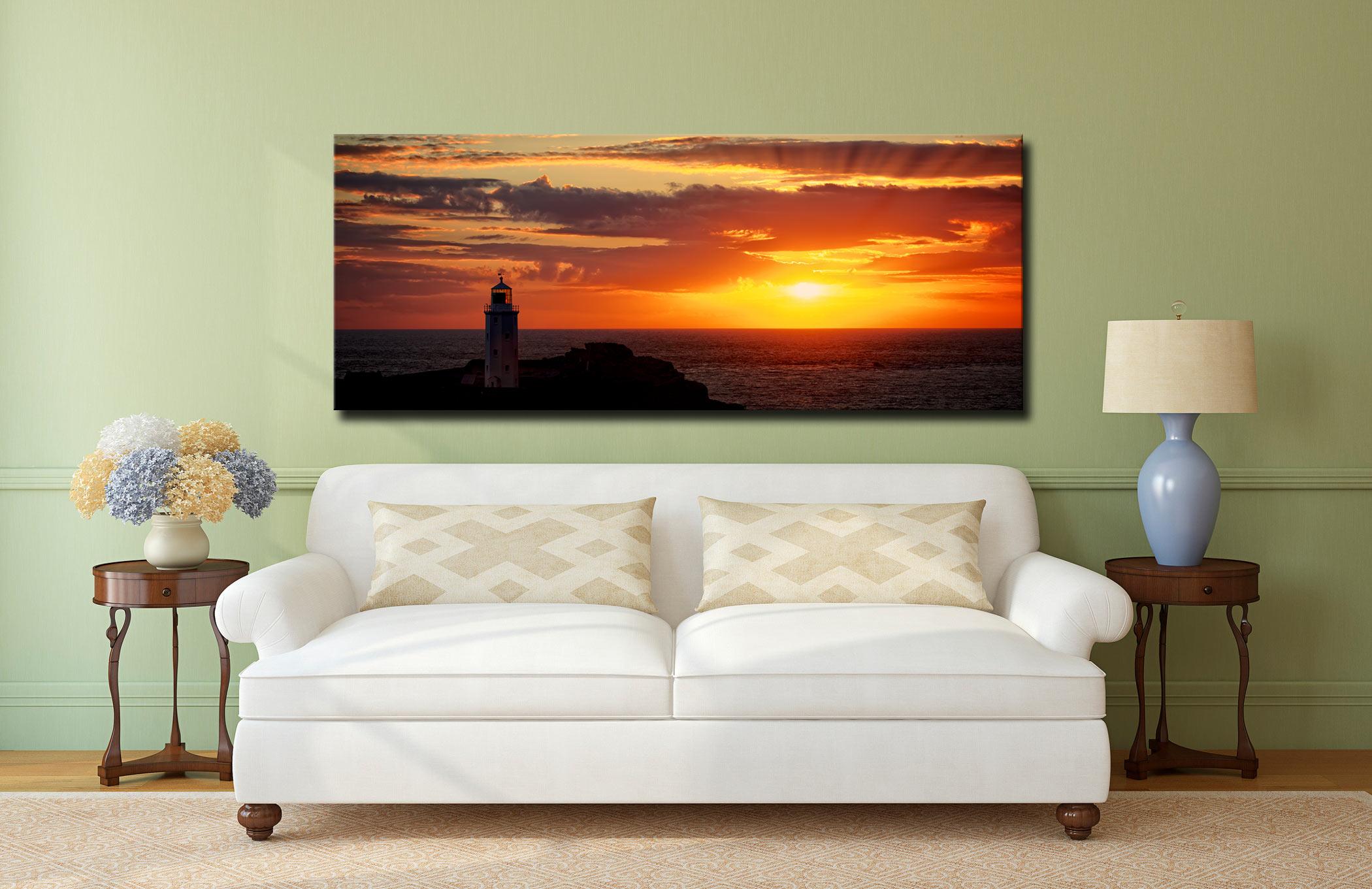 Sun Rays Over Godrevy Lighthouse - Canvas Print on Wall