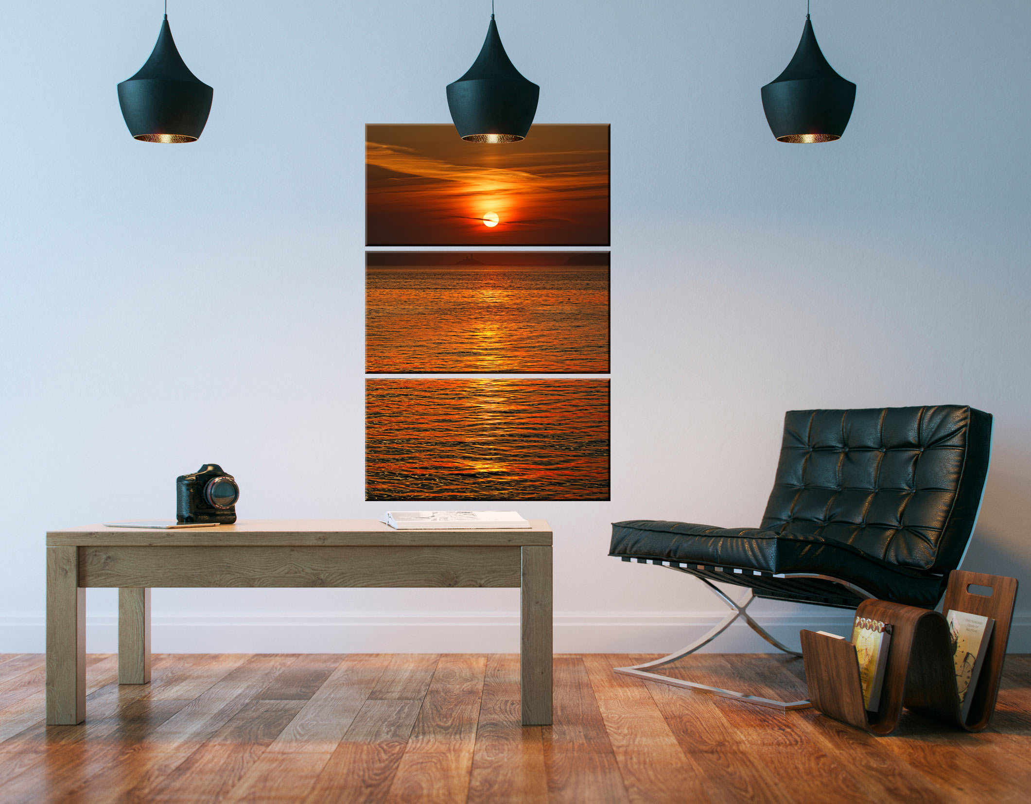 Sunrise Over Godrevy Lighthouse - 3 Panel Canvas on Wall