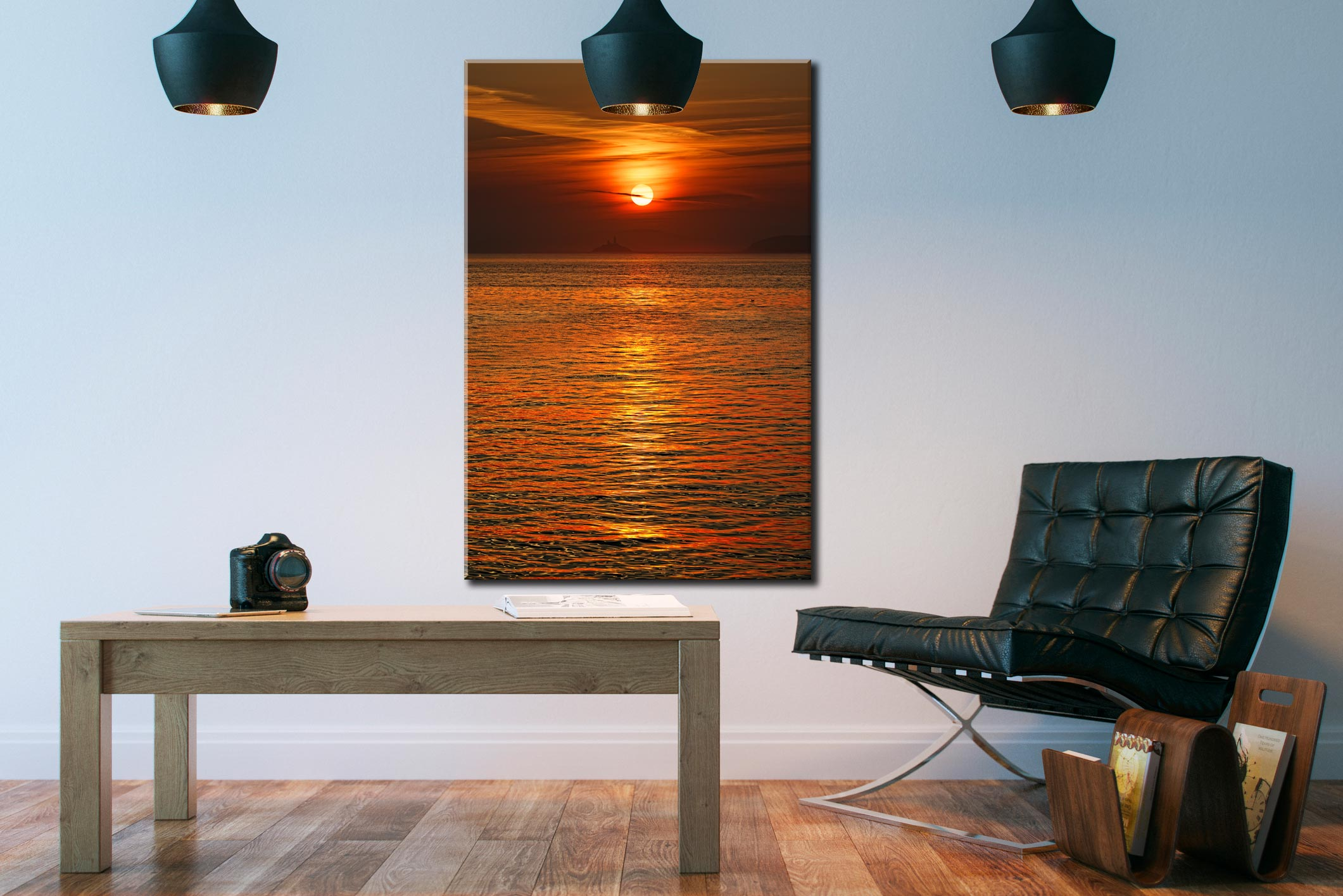 Sunrise Over Godrevy Lighthouse - Cornwall Canvas on Wall