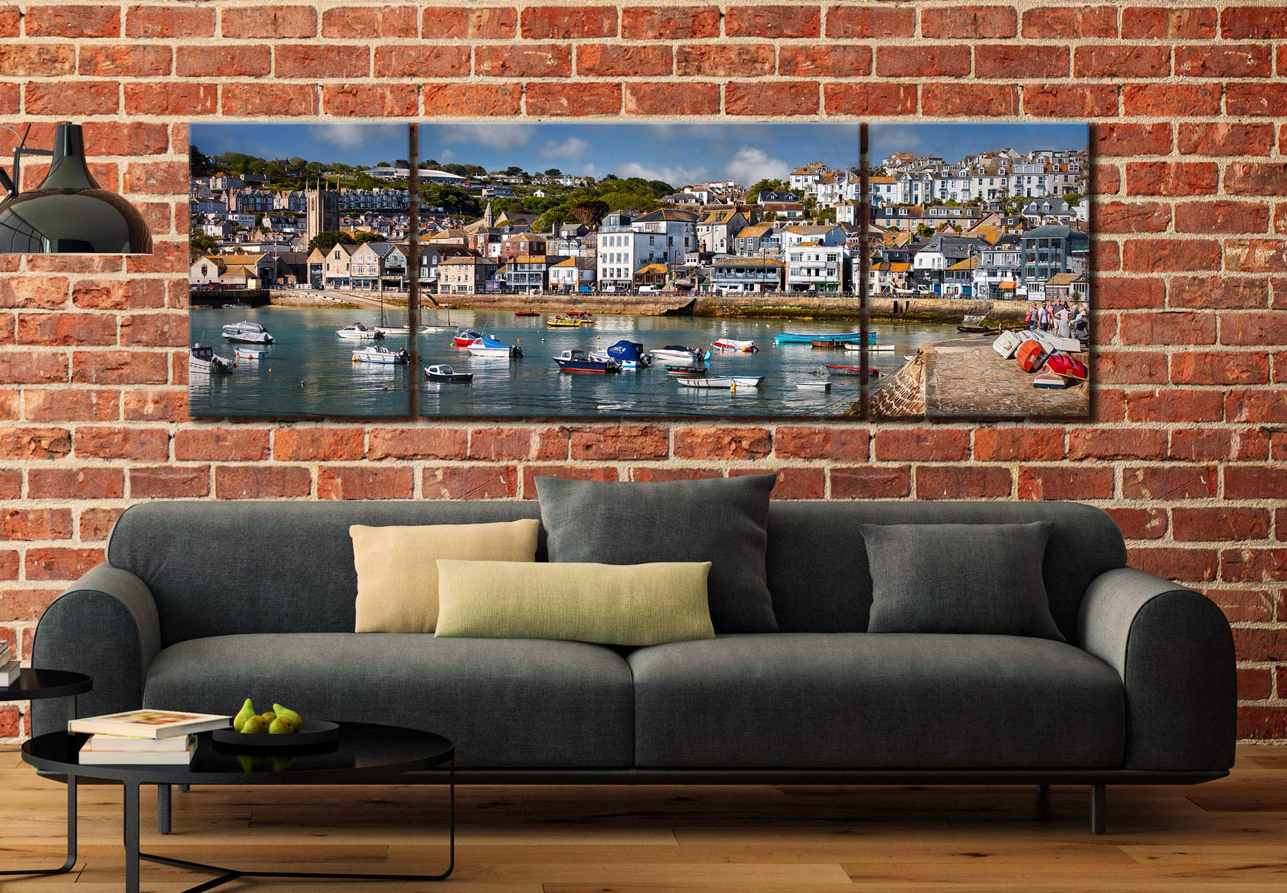 Wharf Road St Ives - 3 Panel Wide Mid Canvas on Wall