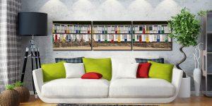 Porthgwidden Beach Chalets - 3 Panel Canvas on Wall