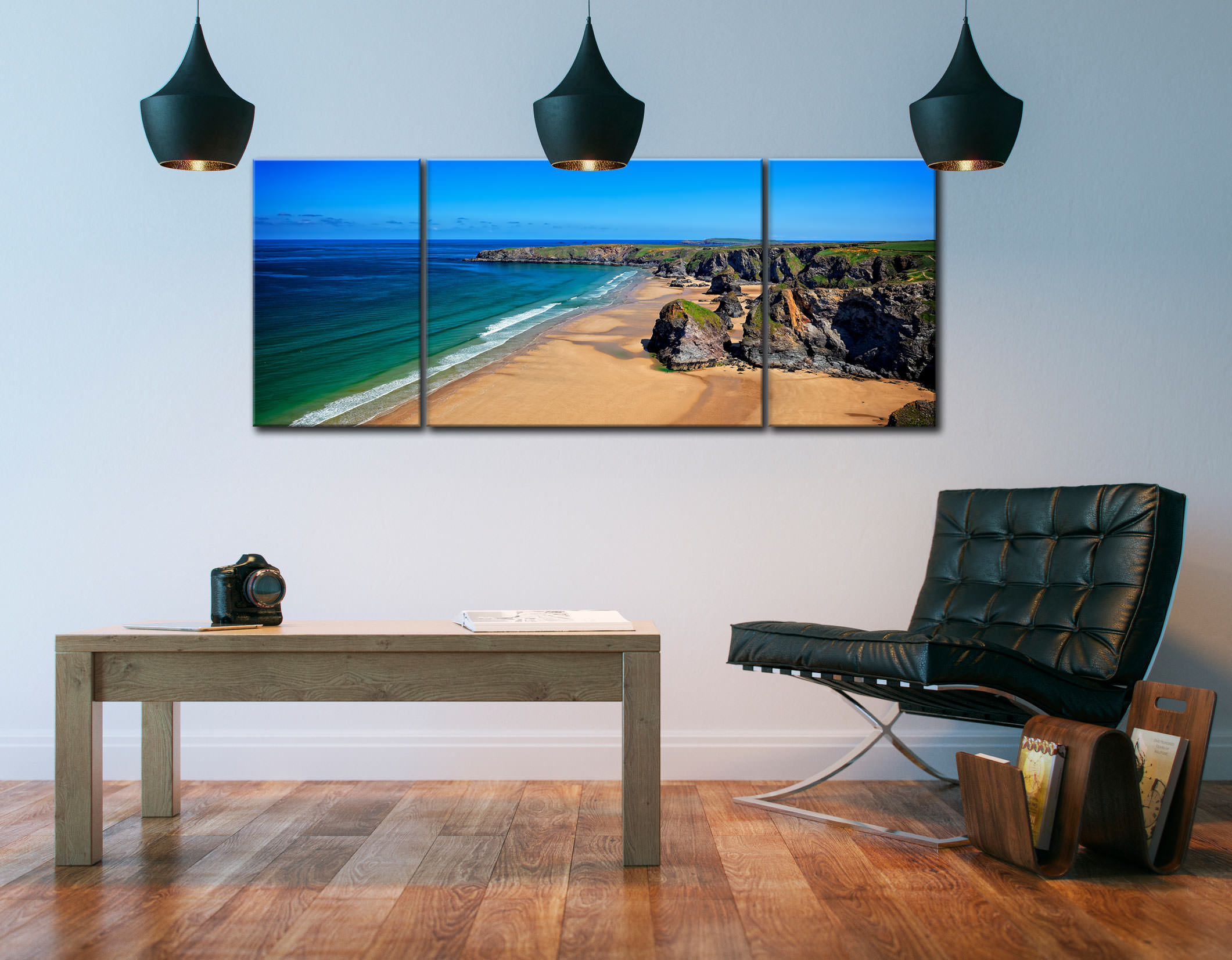 Bedruthan Beach Cornwall - 3 Panel Wide Mid Canvas on Wall